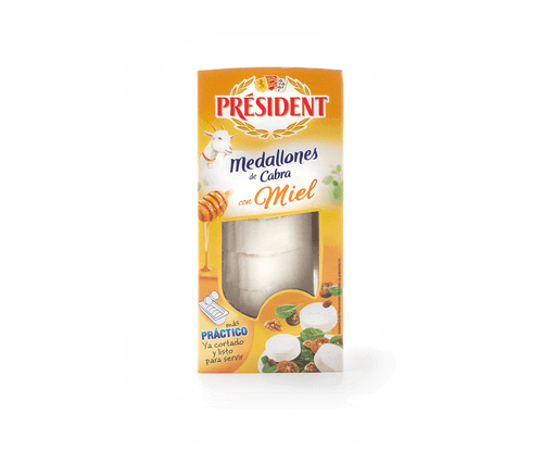 Rollo cabra miel cortado President 100g