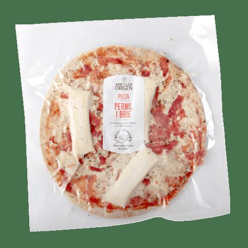 Pizza fina de pernil i brie Ametller Origen 300g