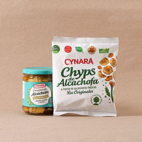 Lote Corazones alcachofa brasa Cynara 415g + Chips alcachofa Cynara 30g