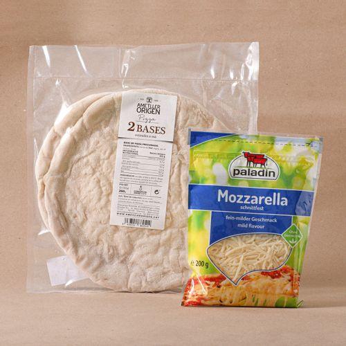 Lote Base de pizza 2u. + Mozzarella rallada Paladin
